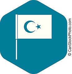 Turkish flag icon, simple style - Turkish flag icon. Simple...