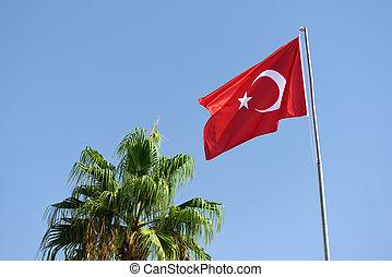 Turkish flag on background of sky