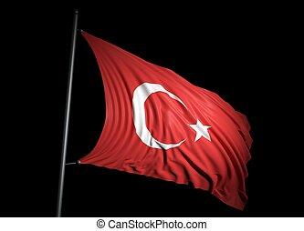 Turkish flag on black background