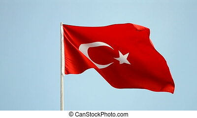 turkish flag on blue sky, turkey