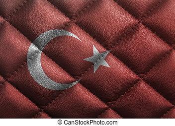 Turkish flag on leather texture