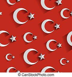 Turkish flag pattern. Modern flag of Turkey on red background vector illustration