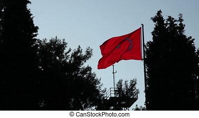 turkish flag silhouette slow motion