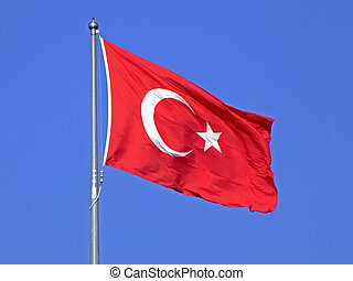 Turkish flag on a wind with sky in background
