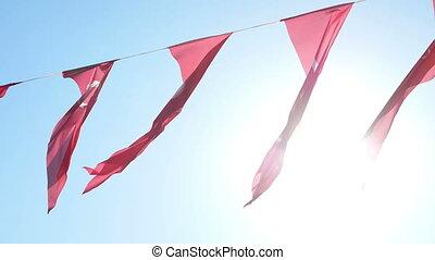 Turkish flag sun light
