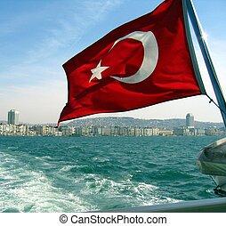 Turkish flag on an istanbul ferry