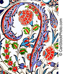 Turkish flower-patterned tiles, close up image