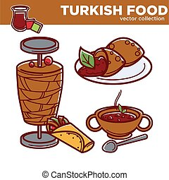 Turkish food cuisine dishes vector flat icons for traditional Turkey restaurant menu