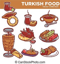 Turkish food cuisine dishes vector icons for traditional restaurant menu