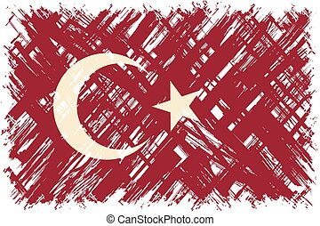 Turkish grunge flag. Vector illustration.