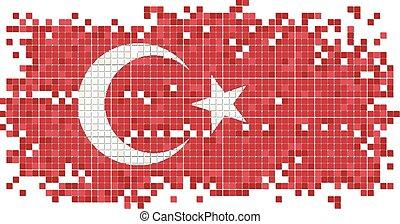 Turkish grunge tile flag. Vector