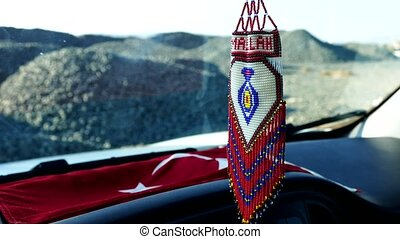 Turkish handicrafts, knitted evil eye bead decor with pearl ...