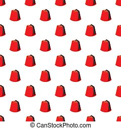 Turkish hat, fez pattern seamless repeat in cartoon style...
