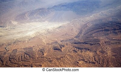 High altitude view of high desert wilderness area in a remote part of Turkey, as seen from ten kilometers above.
