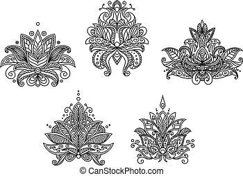Turkish, indian and persian paisley floral motifs set...