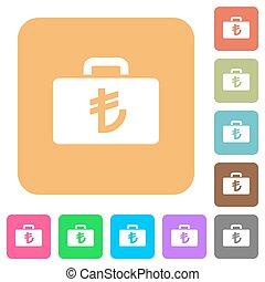 Turkish Lira bag rounded square flat icons