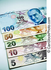 Turkish lira banknotes calculator bills and tax calculations on isolated background