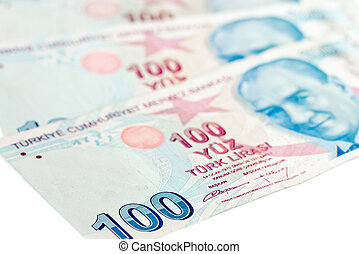 Turkish lira banknotes. money background