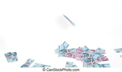 Turkish Lira banknotes rain on white background ( TRY or TL...