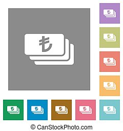 Turkish Lira banknotes square flat icons