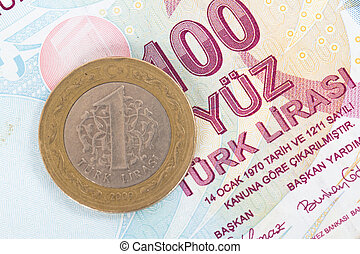 Turkish Lira Coin on Banknote