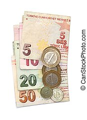 Turkish lira coins and folded banknotes