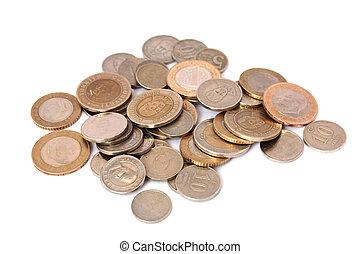 Turkish Lira coins isolated