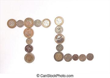 Turkish Lira coins TL shape isolated