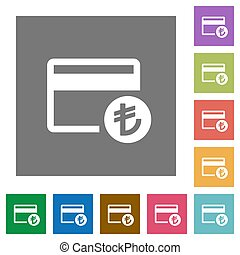 Turkish Lira credit card square flat icons