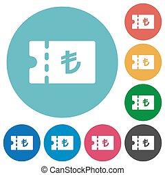 Turkish Lira discount coupon flat round icons - Turkish Lira...