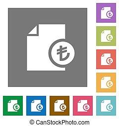Turkish Lira financial report square flat icons