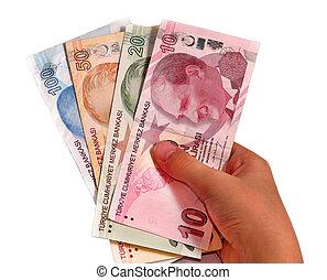 Turkish lira held on a white background