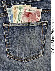 Turkish lira in hip-pocket of jeans