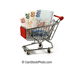 turkish lira in shopping trolley