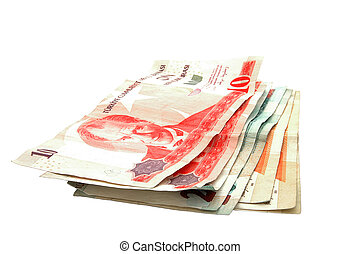 An isolated image of some Turkish Lira (YTL) notes