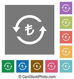 Turkish Lira pay back square flat icons