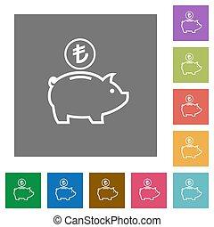 Turkish Lira piggy bank square flat icons