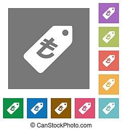 Turkish Lira price label square flat icons