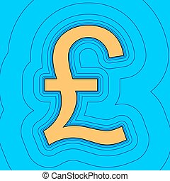 Turkish lira sign. Vector. Sand color icon with black contour and equidistant blue contours like field at sky blue background. Like waves on map - island in ocean or sea.