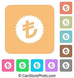 Turkish Lira sticker rounded square flat icons