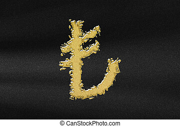 Turkish Lira, TRY Lira currency, Monetary currency symbol, abstract gold with black background