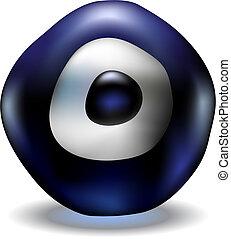 Turkish lucky charm blue evil eye bead, vector illustration