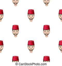 Turkish man icon in cartoon style isolated on white background. Turkey pattern stock vector illustration.
