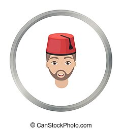 Turkish man icon in cartoon style isolated on white background. Turkey symbol stock vector illustration.