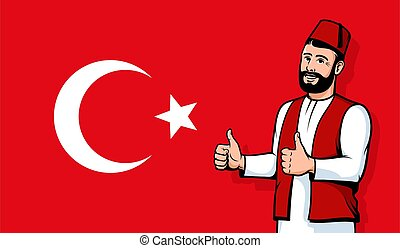 Turkish man in fez smiling on Turkey flag background
