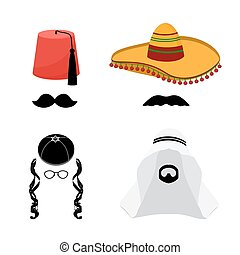 Turkish hat fez and mexican hat sombrero, arabic hat keffiyeh and jewish hat kipa, beard and mustache