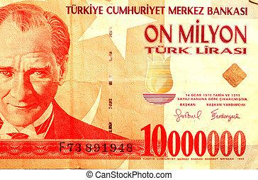 turkish money  83 - ten million turkish lira note