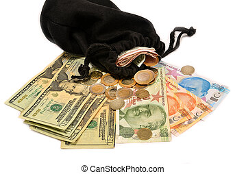 Turkish money and pouch on white background