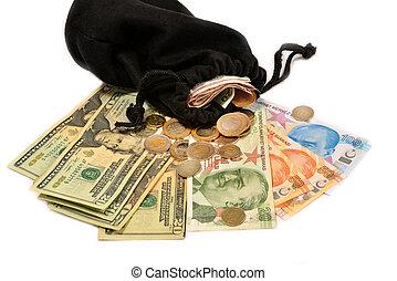 Turkish money and pouch on white background - Turkish lira...