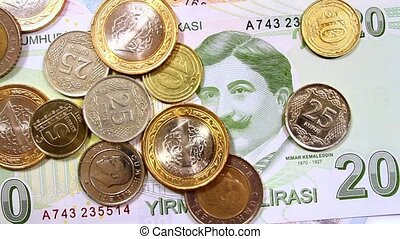 Turkish Money - Camera pans right to left over coins.